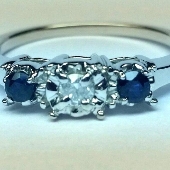 NYJEWELZ Jewelry - THREE STONE DIAMOND BLUE SAPHIRE RING BRAND NEW
